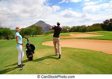par, ligado, golfe verde