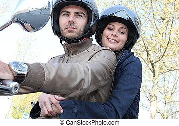 par, ligado, motocicleta