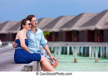 par, ligado, tropicais, luxo, férias