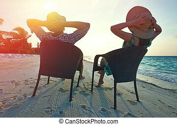 par, ligado, um, praia, em, maldives