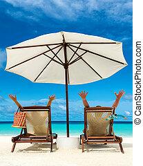 par, ligado, um, praia tropical