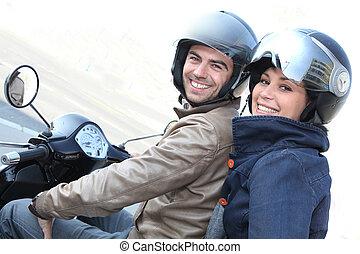 par, ligado, um, scooter