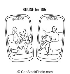 par, ligne, continue, téléphone, internet, communiquer, mariages, où, créé, app., rencontré, dater, sur, couple, distance., gens, social, média, relations, écrans