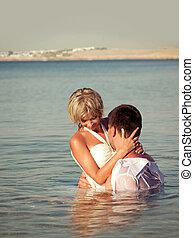 par, litoral, abraçar