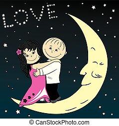 par, lua, amor, dançar