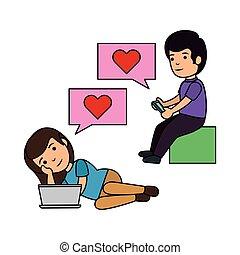 par, lurar, pratstund, älskande