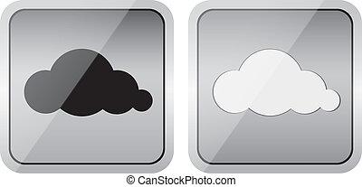 par, lustroso, nuvem, ícones