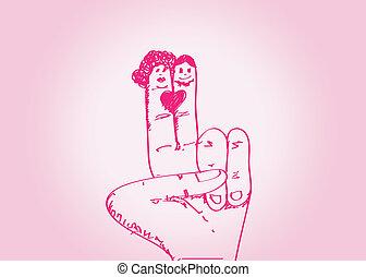 par, mão, w, casório, desenhado, caricatura