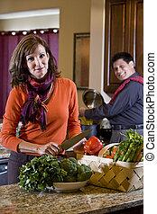 par maduro, em, cozinha, preparar, jantar saudável