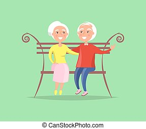 par maduro, sentar-se banco, junto, família