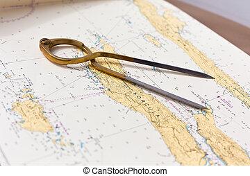 par, mapa, navegación, brújulas, mar