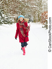 par, marche, femme, pays boisé, neigeux