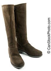 par, marrom, femininas, botas