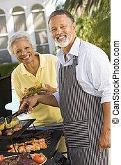 par, matlagning, på, a, barbeque