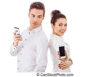 par, med, deras, telefoner