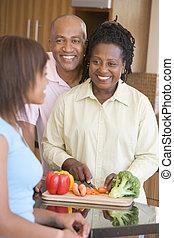 par, med, dotter, förberedande, måltiden