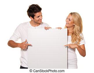 par, med, en, tom, affisch, till, annonsera, den, öppning