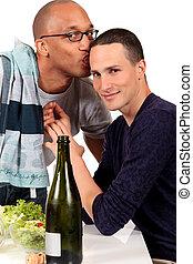 par misturado, etnicidade, homossexual, cozinha