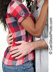 par misturado, raça, abraçando