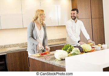 par, modernos, cozinha, amando