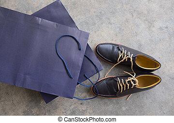 par, modernos, pretas, sapatos, clássicas