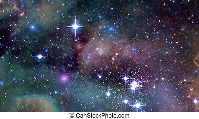 par, mouche, nebulas, espace
