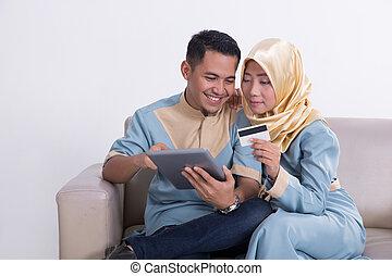 par, muçulmano, tabuleta, sofá