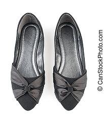 par, mujer, negro, zapatos,  casual