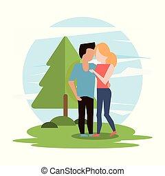par, mulher, abraçando, homem