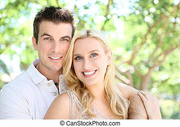 par, mulher, atraente, homem