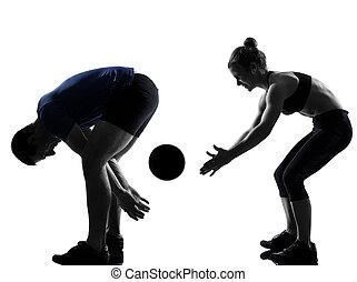 par, mulher, malhação, exercitar homem
