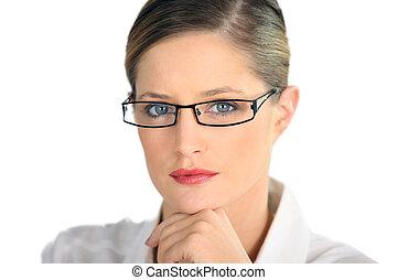 par, mulher profissional, óculos, golpear