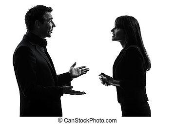 par, mulher, silueta, homem negócio