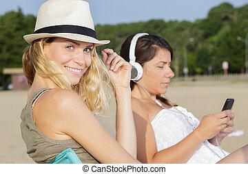 par, mulheres, beleza, ao ar livre