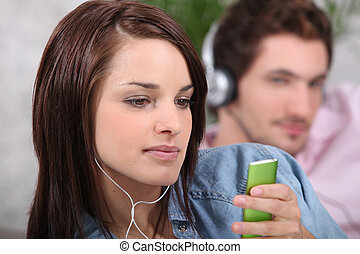 par, musik, ung, lyssnande