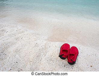 par, natação, sapatos, costa mar