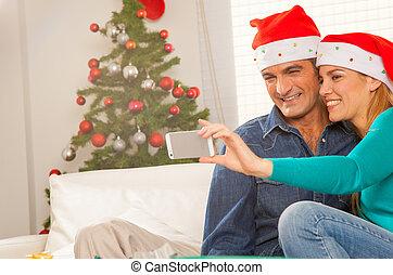 par, natal, fazer, lar, selfie, feliz