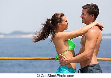 par, navio cruzeiro, abraçando, swimsuits