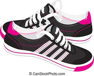 par, negro, zapatillas