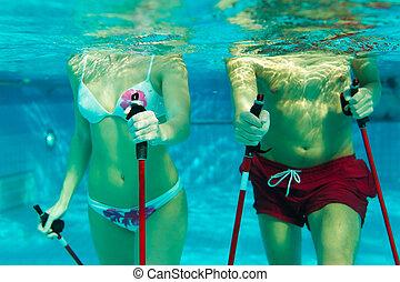 par, nordic, exercitar, passeio, vara, piscina, natação