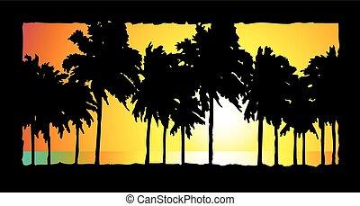 par, océan, palmiers, vue