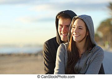 par, olhar, pôr do sol, horizonte, adolescentes, feliz