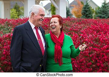 par, outono, saúde, sênior, desfrutando, feliz