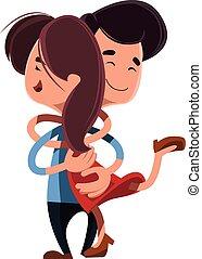 par, outro, abraçando, cada