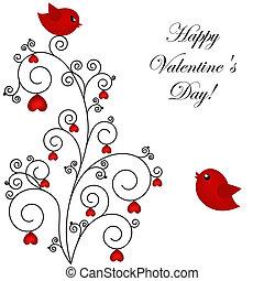 par, pássaros, amando