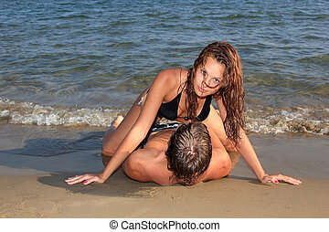 par, på, en, den, strand