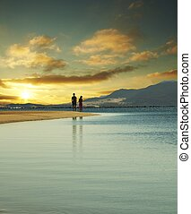 par, på, solnedgång