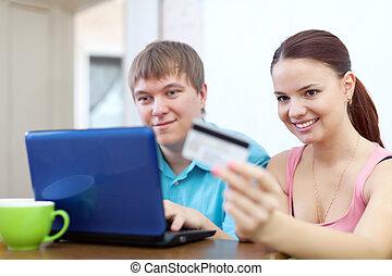par, pagar, por, cartão crédito, em, internet
