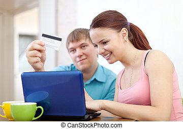 par, pagar, por, cartão crédito, em, internet, loja