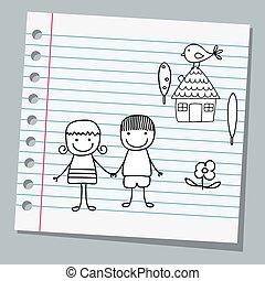 par, papel, caderno, feliz